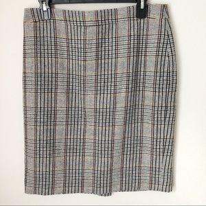 J.Crew Grey Wool Blend Plaid Pencil Skirt